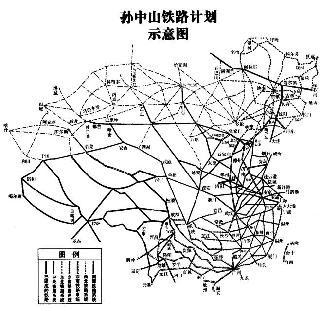 孙中山绘制的铁道线路规划图