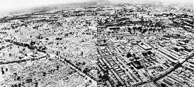 左,震后的唐山市路南区;右,震前的唐山市路南区