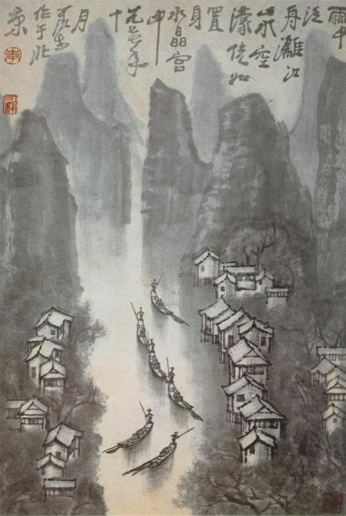 新中式抽象西湖山水